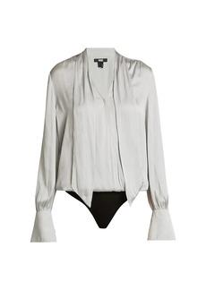 Paige Saffron Tie-Neck Long-Sleeve Bodysuit