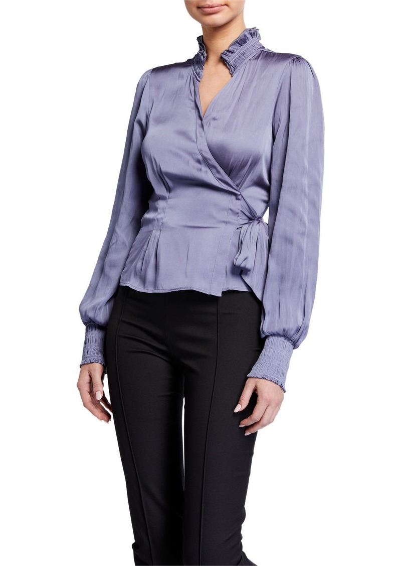 Paige Selby Long-Sleeve Satin Wrap Top
