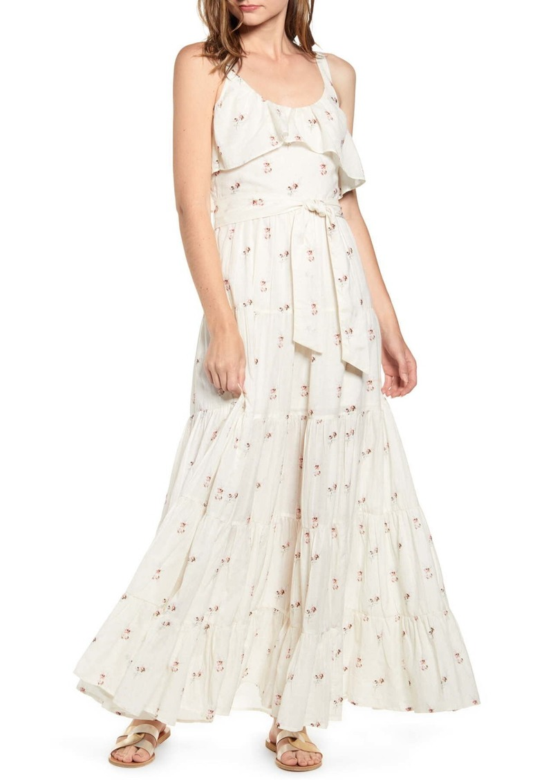 Paige Tevin Floral Ruffled Maxi Dress