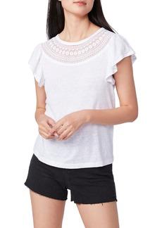 Women's Paige Lumina Crochet Yoke Flutter Sleeve Linen T-Shirt