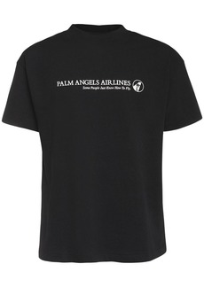 Palm Angels Airlines Print Cotton Jersey T-shirt