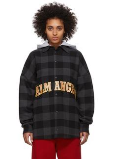 Palm Angels Black & Grey College Logo Over Shirt