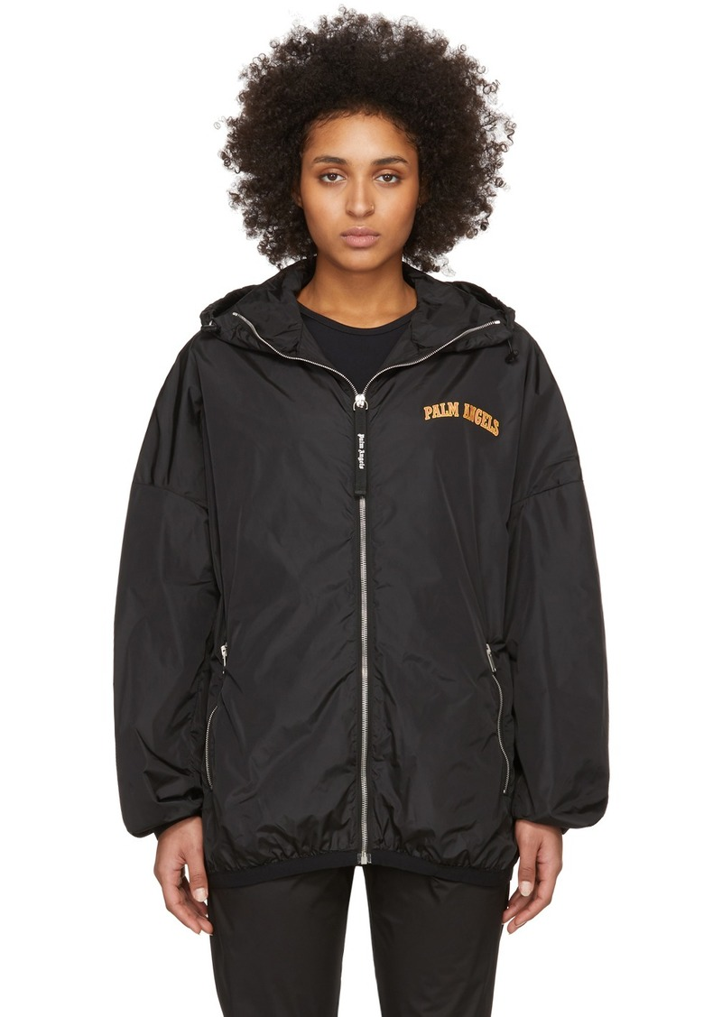 Palm Angels Black College Logo Windbreaker Jacket