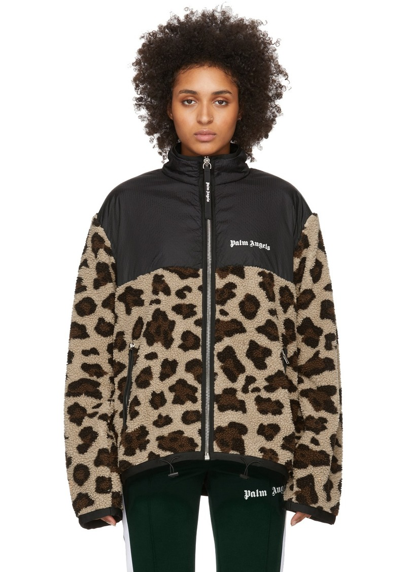 Palm Angels Black Sherpa Animalier Jacket