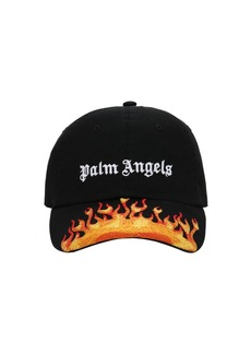 Palm Angels Burning Cotton Canvas Baseball Hat