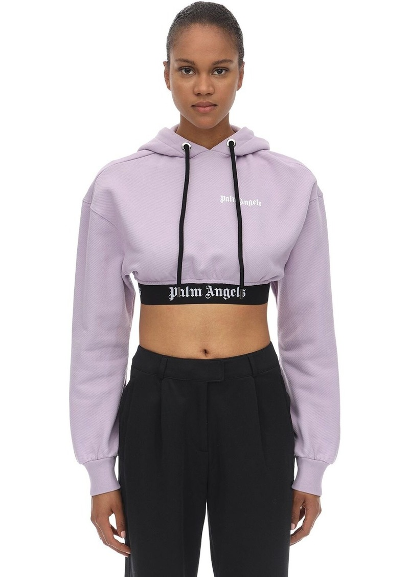 Palm Angels Cropped Cotton Jersey Sweatshirt Hoodie
