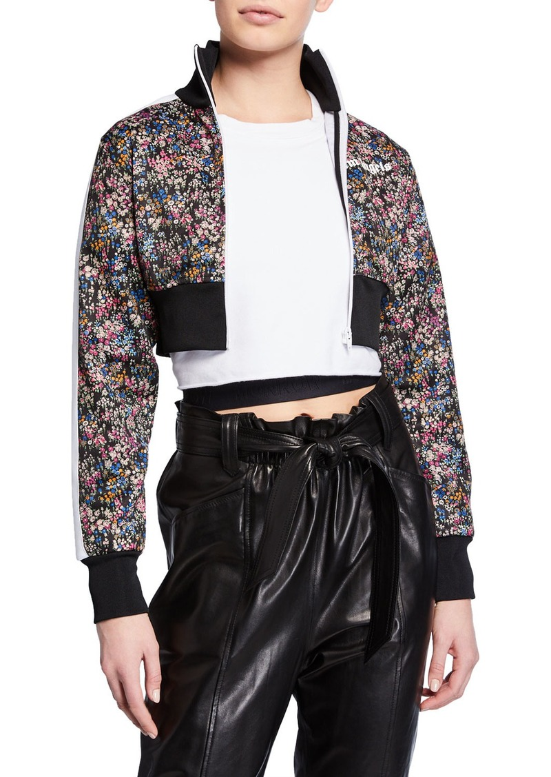 Palm Angels Cropped Floral Logo Track Jacket