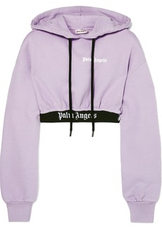 Palm Angels Cropped Jaquard-trimmed Cotton-terry Hoodie