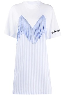 Palm Angels fringe stripe detail T-shirt dress