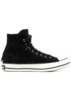 Palm Angels fringed high-top lace-up sneakers