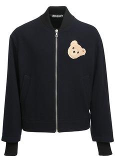 Palm Angels Logo Bear Patch Wool Blend Bomber Jacket