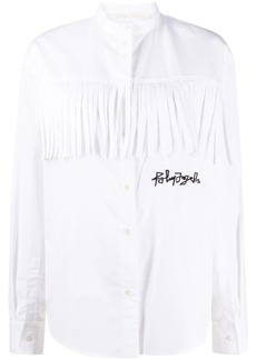 Palm Angels logo embroidered fringed shirt