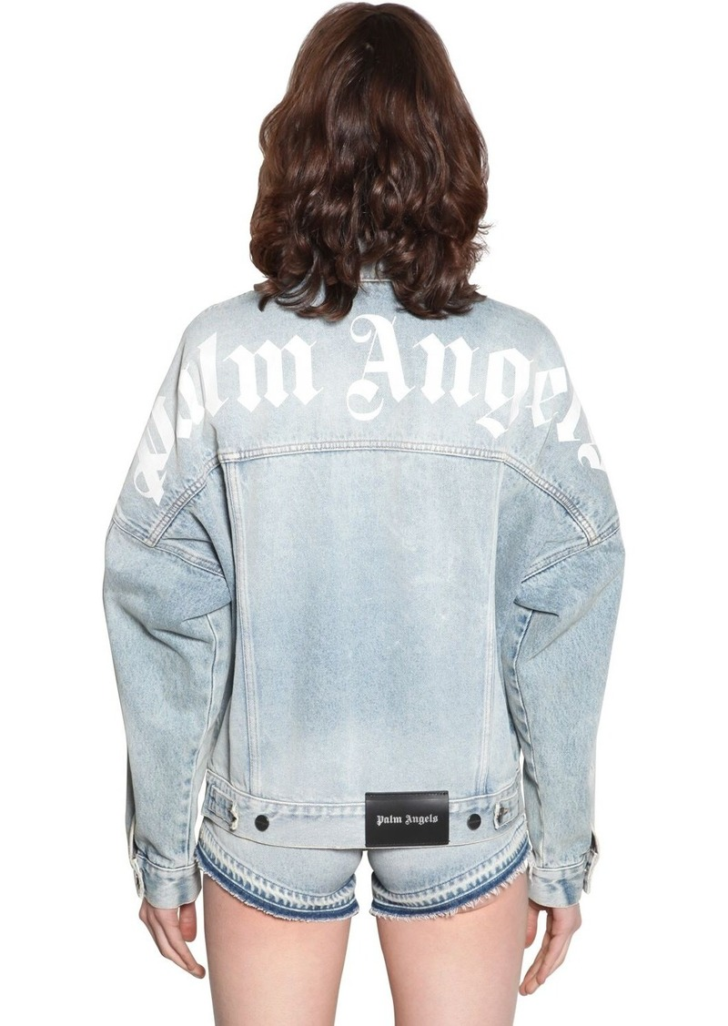 Palm Angels Logo Print Cotton Denim Jacket