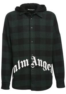 Palm Angels Logo Print Flannel Shirt Jacket W/ Hood