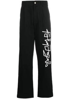 Palm Angels logo print straight-leg trousers