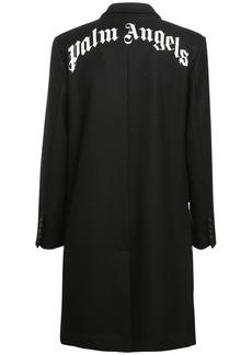 Palm Angels Logo Printed Wool Blend Long Coat