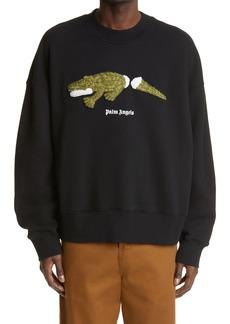 Men's Palm Angels Embroidered Croco Logo Sweatshirt