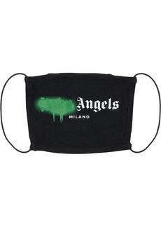 Palm Angels Milano Spray Logo Print Cotton Face Mask