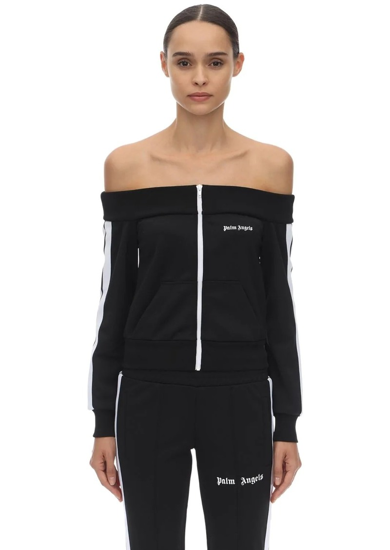 Palm Angels Off-the-shoulder Acetate Track Jacket