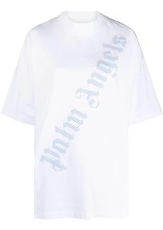 Palm Angels oversized diagonal logo print T-shirt