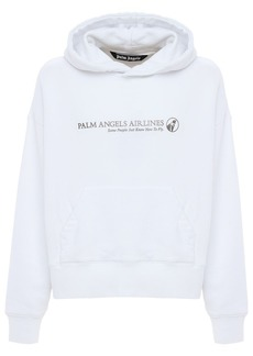 Palm Angels Palm Airlines Print Cotton Jersey Hoodie