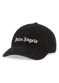 Palm Angels Logo Embroidered Corduroy Baseball Cap