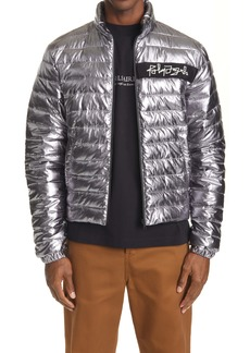 Palm Angels Logo Embroidered Metallic Puffer Jacket