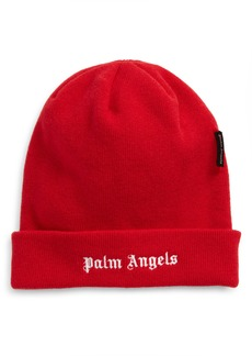 Palm Angels Logo Embroidered Wool Beanie