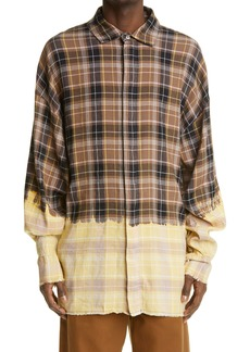 Palm Angels Loose Fit Bleached Check Button-Up Shirt