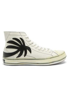 Palm Angels Palm tree-patch leather high-top trainers