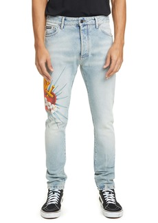 Palm Angels Sacred Heart Straight Leg Jeans