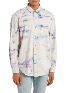 Palm Angels Tie Dye Denim Button-Up Shirt