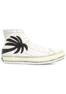 Palm Angels Palm Print High Leather Sneakers