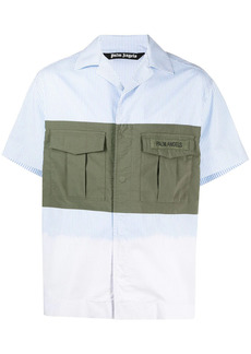 Palm Angels panelled striped bowling shirt