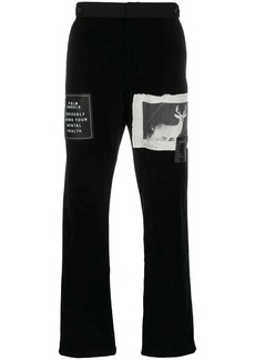 Palm Angels patch embellished straight trousers