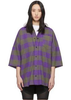 Palm Angels Purple & Grey Hooded Logo Overshirt