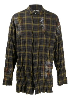 Palm Angels paint effect wrinkled checked shirt