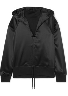 Palm Angels Ruched Satin And Cotton-terry Hoodie