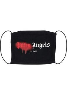 Palm Angels Tokyo Spray Logo Print Cotton Face Mask