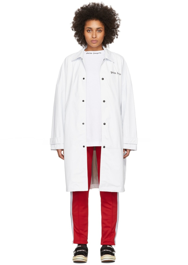 Palm Angels White Logo Over Raincoat