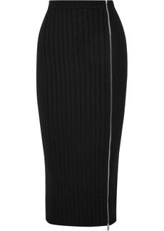 Palm Angels Zip-detailed Ribbed Wool-blend Midi Skirt