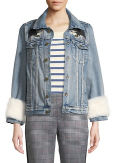 Pam & Gela Feminist Gangsta Fur-Cuff Denim Jacket