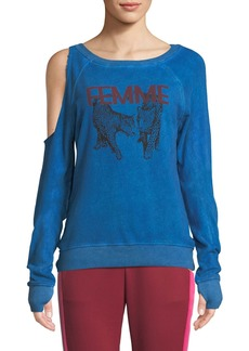 Pam & Gela Femme One-Sided Cold Shoulder Sweatshirt