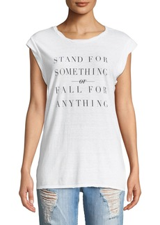 Pam & Gela Frankie Stand For Something Crewneck Sleeveless Jersey Tee