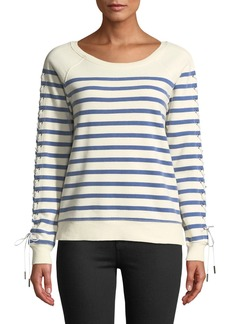 Pam & Gela Lace-Up-Sleeve Striped Sweatshirt
