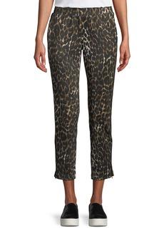 Pam & Gela Leopard-Print Cropped Side-Stripe Track Pants