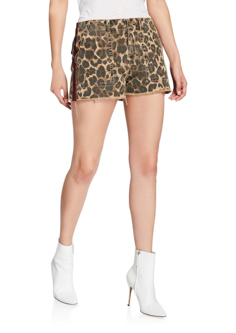 Pam & Gela Leopard-Print Lace-Up Detail Shorts with Side-Stripes
