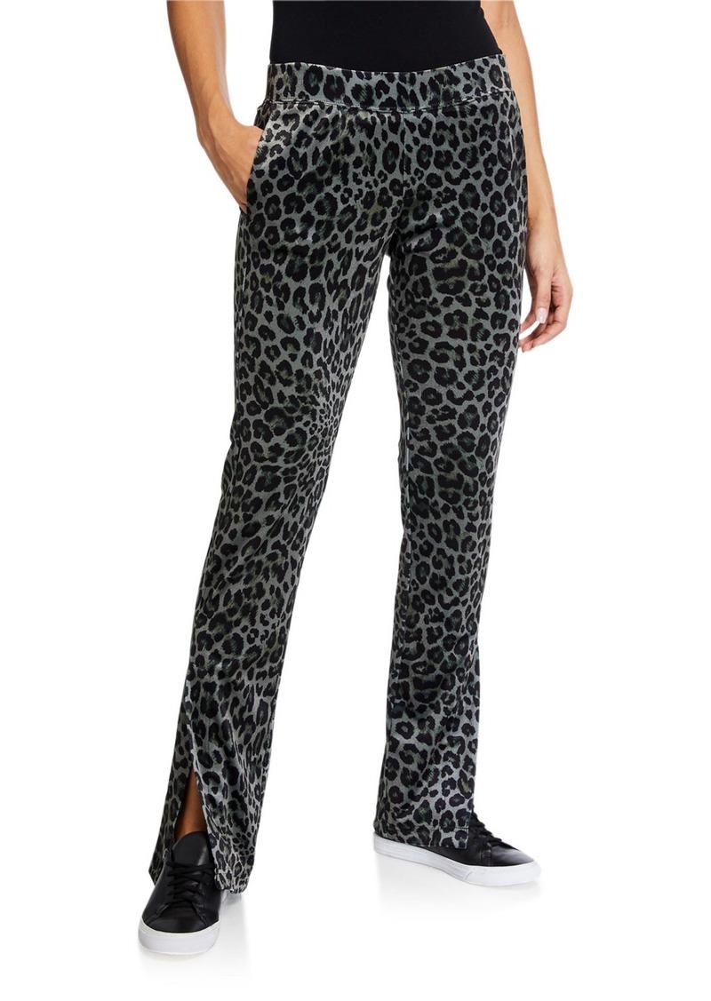 Pam & Gela Leopard-Print Side-Slit Track Pants