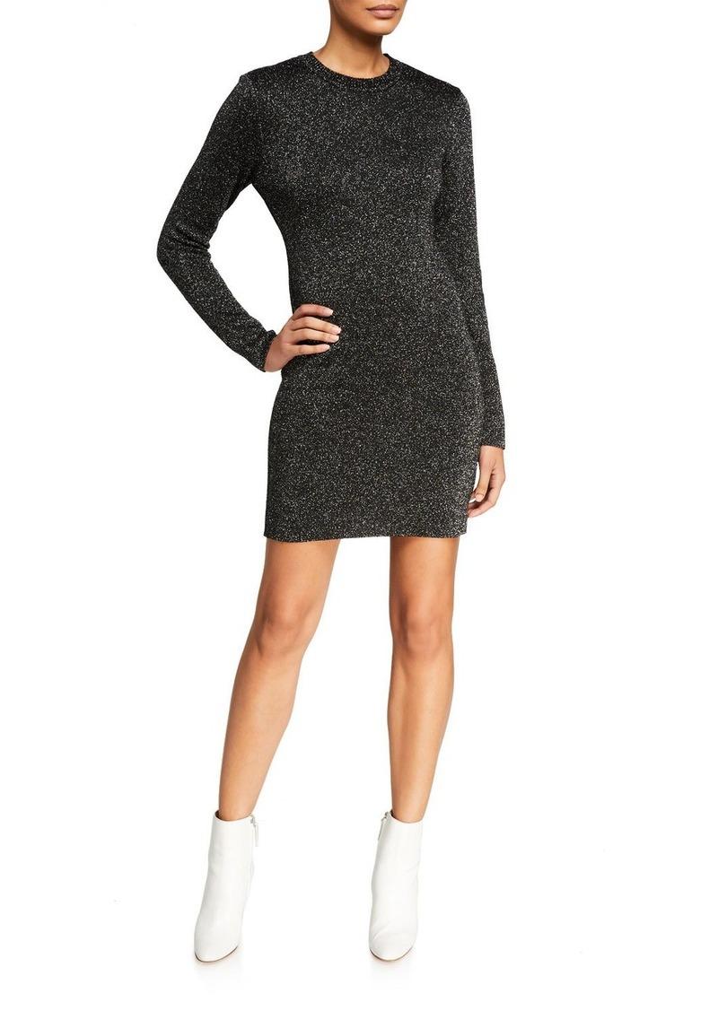 Pam & Gela Metallic Long-Sleeve Crewneck Short Dress