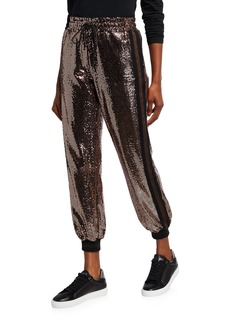 Pam & Gela Mirror Ball Cropped Sequin Sweatpants